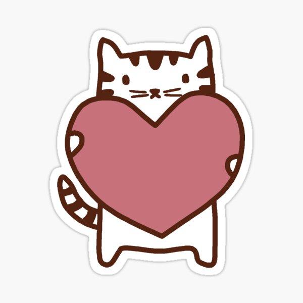 White Cat Love Sticker