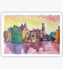 Erleuchtete Altstadt von Brügge in Westflandern Belgien Sticker