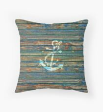 Cool Anchor Green Blue Rustic Throw Pillow