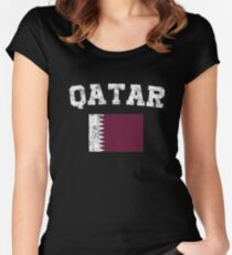Qatari Flag Shirt - Vintage Qatar T-Shirt Women's Fitted Scoop T-Shirt