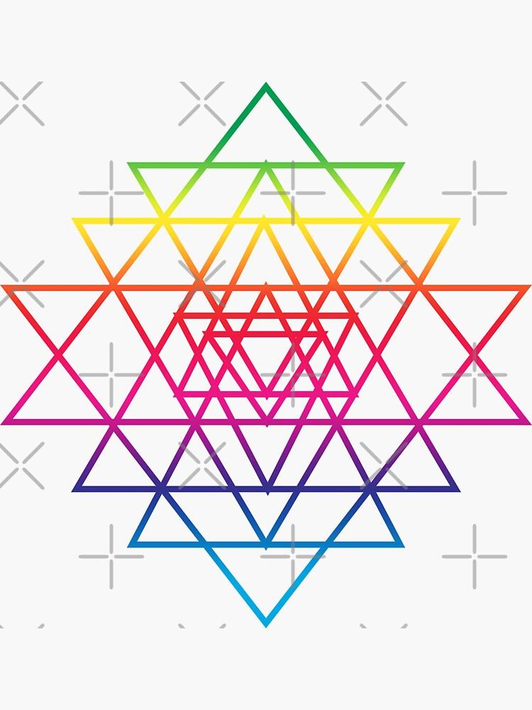 Sacred Geometry Geometric Mandala Flower Of Life Rainbow Sri Yantra Star by thespottydogg