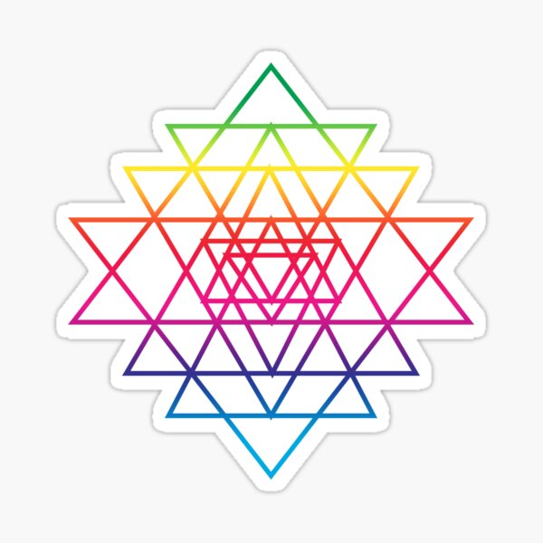 Sacred Geometry Geometric Mandala Flower Of Life Rainbow Sri Yantra Star Sticker