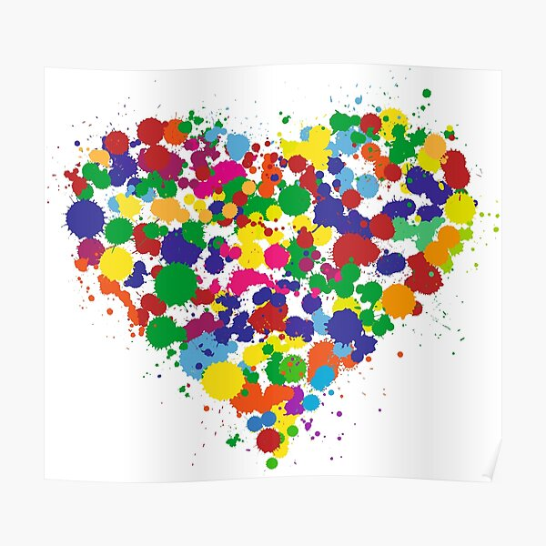 Color Splash Heart Poster