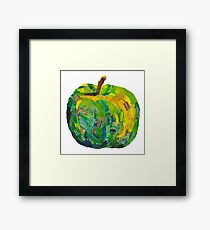 Green apple in mixed media collage - no background Framed Print