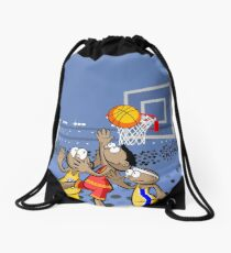 Basketball players saltando by the ball Drawstring Bag