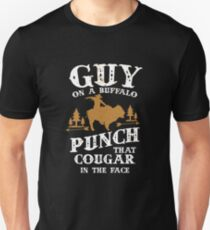 Guy On A Buffalo Punch That Cougar In The Face Unisex T-Shirt