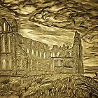 A digital painting of my pencil drawing of Whitby Abbey, Yorkshire, England 7th century by Dennis Melling