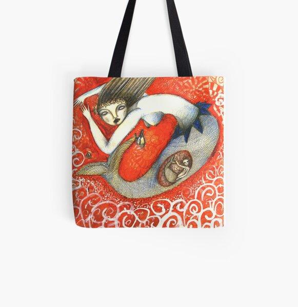 Sirena en Rojo Bolsa estampada de tela