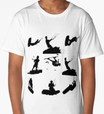 Wakeboarder Silhouette Collage Long T-Shirt