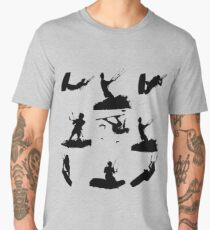 Wakeboarder Silhouette Collage Men's Premium T-Shirt