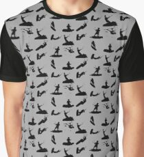 Wakeboarder Silhouette Collage Graphic T-Shirt