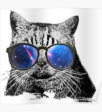 Cat Love > Cat Wearing Nerdy Sunglasses + Galaxy > Cool Cat Poster