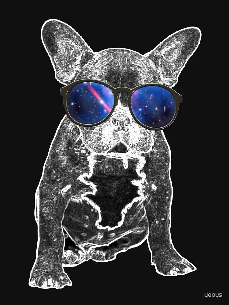 Dog Love > French Bulldog Wearing Nerdy Sunglasses + Galaxy > Cool Dog by yeoys