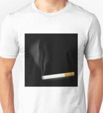 Smoking Single Cigarette Isolated on Black Background T-Shirt