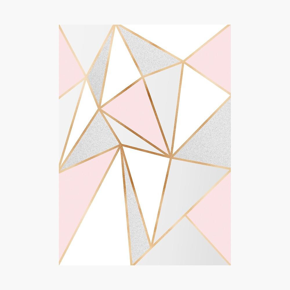 Pink, Grey & Gold Geo Photographic Print