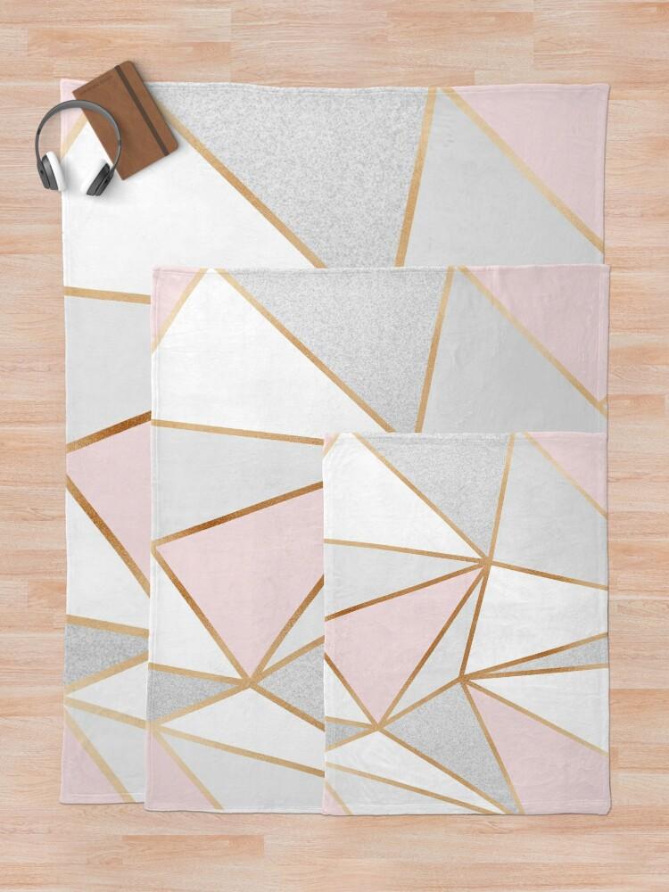 Alternate view of Pink, Grey & Gold Geo Throw Blanket