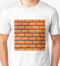 Orange Grunge Brick Wall.  Orange Brick Pattern. T-Shirt