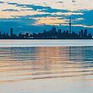 Orange and Teal Toronto Skyline Over Water  by Georgia Mizuleva