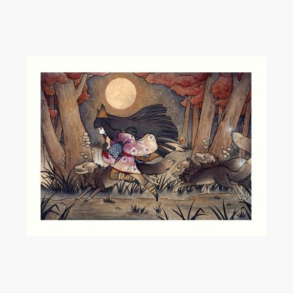 Running With Monsters - Kitsune Fox Yokai  Art Print