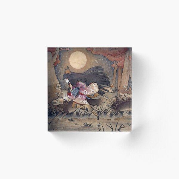 Running With Monsters - TeaKitsune Fox Yokai  Acrylic Block