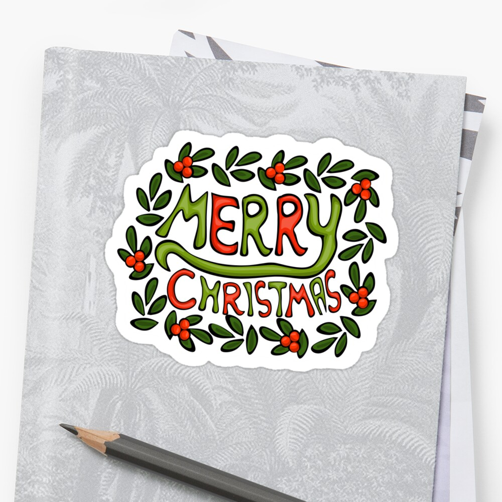 Merry Christmas Lettering Wreath Sticker