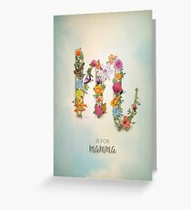 """Floral Monogram M - """"M is for mamma"""" - Mother's Day gifts Greeting Card"""