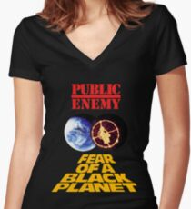 p.e. fear of a black planet Women's Fitted V-Neck T-Shirt