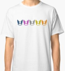 Boston Terrier line up - multi colored Bostons: color series 1 Classic T-Shirt