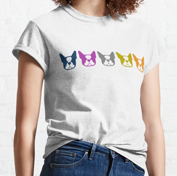 Boston Terrier line up - multi colored Bostons: color series 1 - fun Boston Terrier pattern Classic T-Shirt