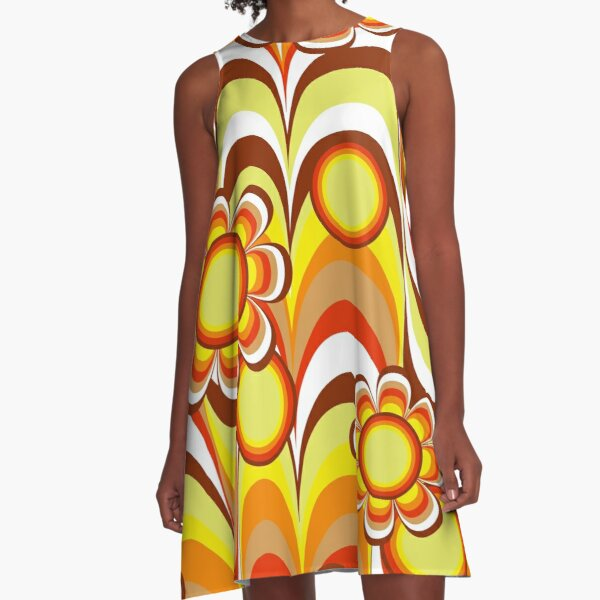 Groovy 60s Psychedelic Flower A-Line Dress
