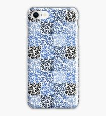 Pattern of leaves and flowers (white background) iPhone Case/Skin