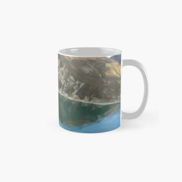 Lake in the mountains in polygon technique Classic Mug