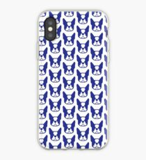 Boston Terrier face silhouette - modern and bold Boston face in blue iPhone Case