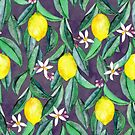 When Life Gives You Lemons - watercolor lemons on grey by micklyn