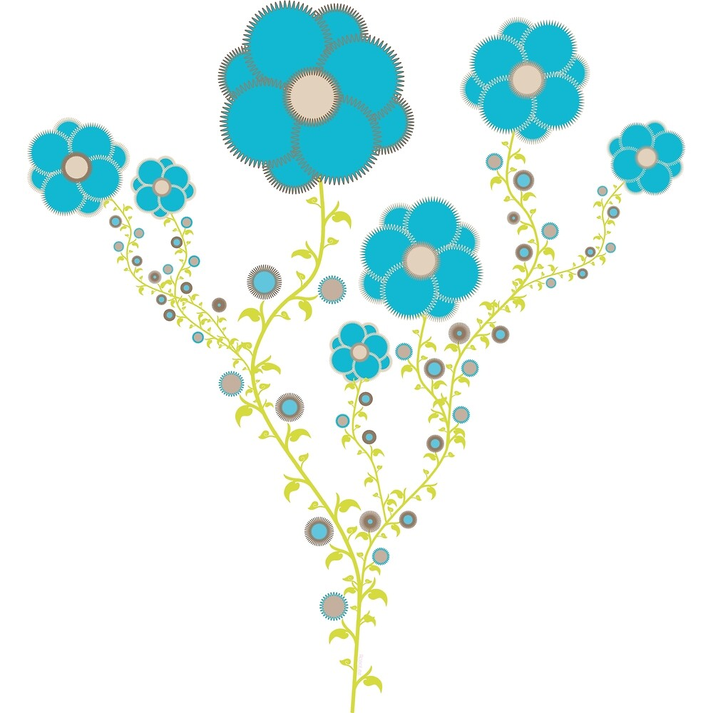 « Fleurs bleues grimpantes » par RosaLeeDesign