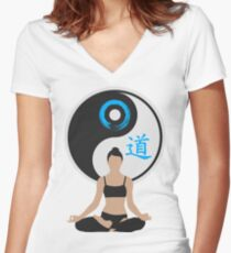 Jing Jang - Harmony - Yoga - Joga Women's Fitted V-Neck T-Shirt