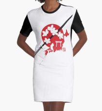 Cherry Blossom Samurai Graphic T-Shirt Dress