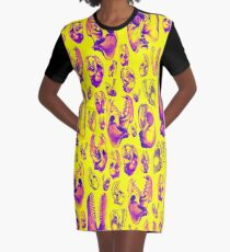 Fleischfresser HOT PINK & GELB T-Shirt Kleid