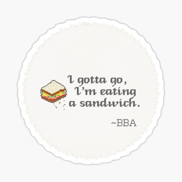 BBA Quote Cross-stitch Sticker