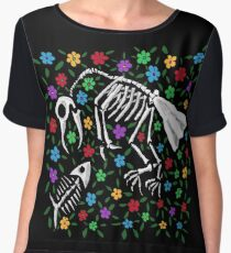 Bird and Fish Skeletons on Bed of Flowers Chiffon Top