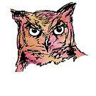 Owl Sketch (Pink & Orange) by makeitsoph