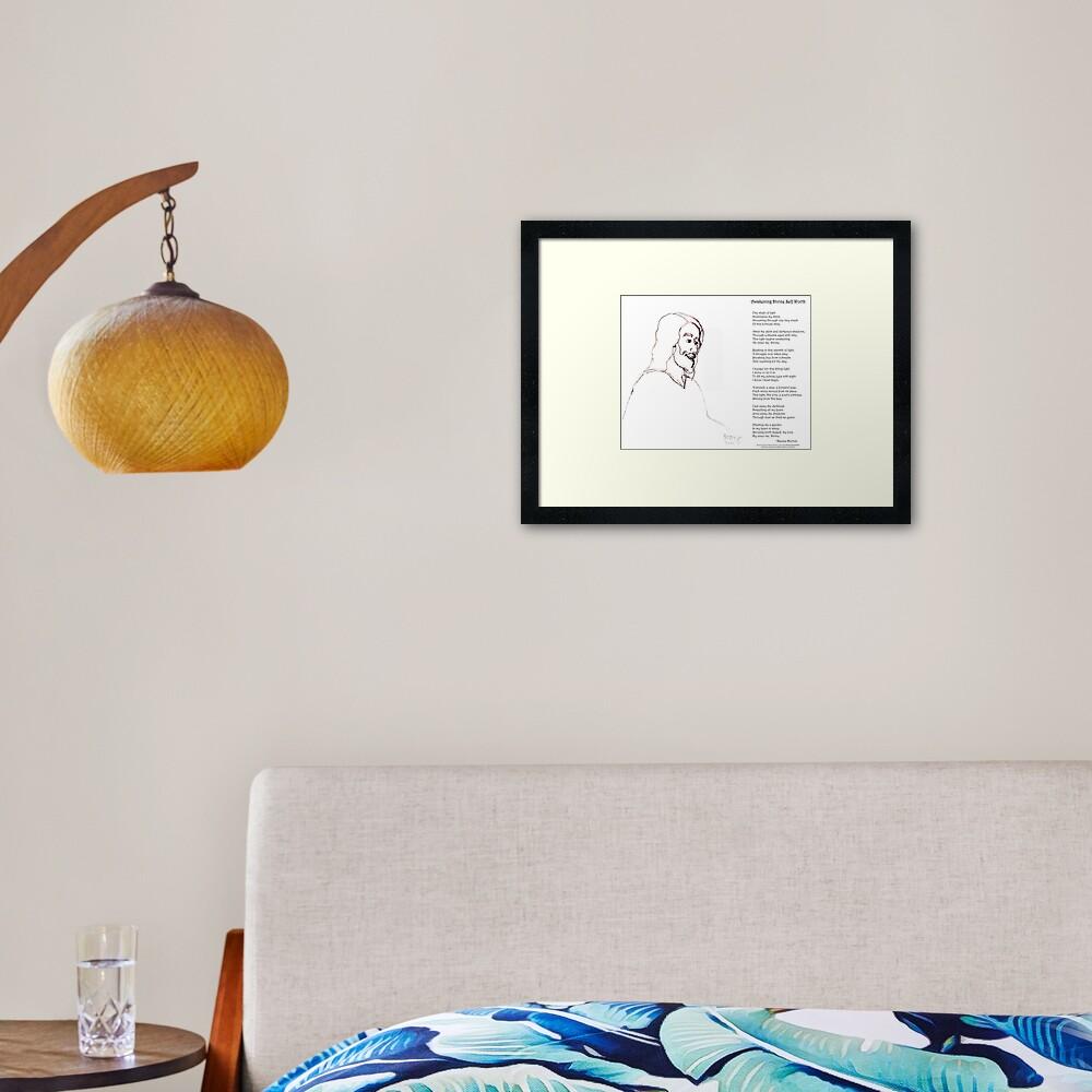 Awakening Divine Self Worth, sketch of Jesus 2 Framed Art Print