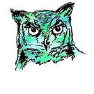 Owl Sketch (Turquoise) by makeitsoph