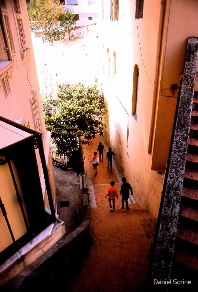 Kids running in Monaco by Daniel Sorine