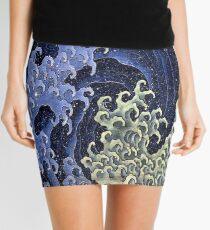 Feminine wave by Katsushika Hokusai Mini Skirt