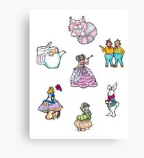 Alice in Wonderland characters Canvas Print