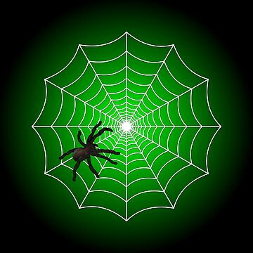 White Spider Web With Spider on Acid Green and Black by Creepyhollow