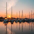 Glowing Boats in Orange and Teal by Georgia Mizuleva
