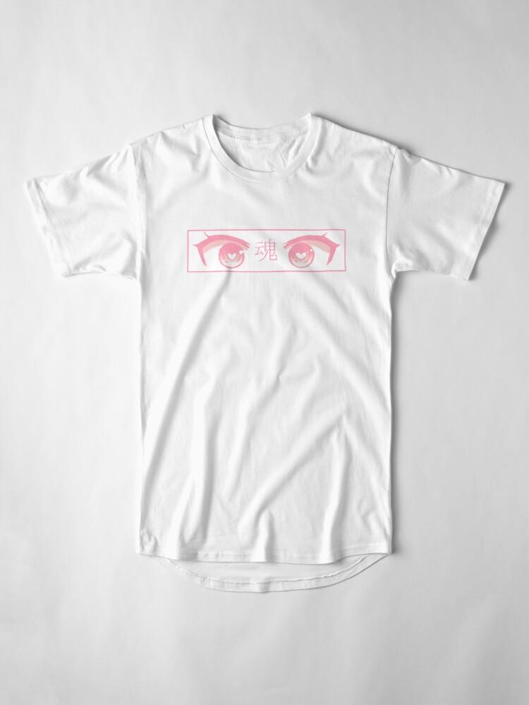 Alternative Ansicht von HERZ-AUGEN (ROSA PASTELL) - trauriges japanisches ästhetisches Longshirt