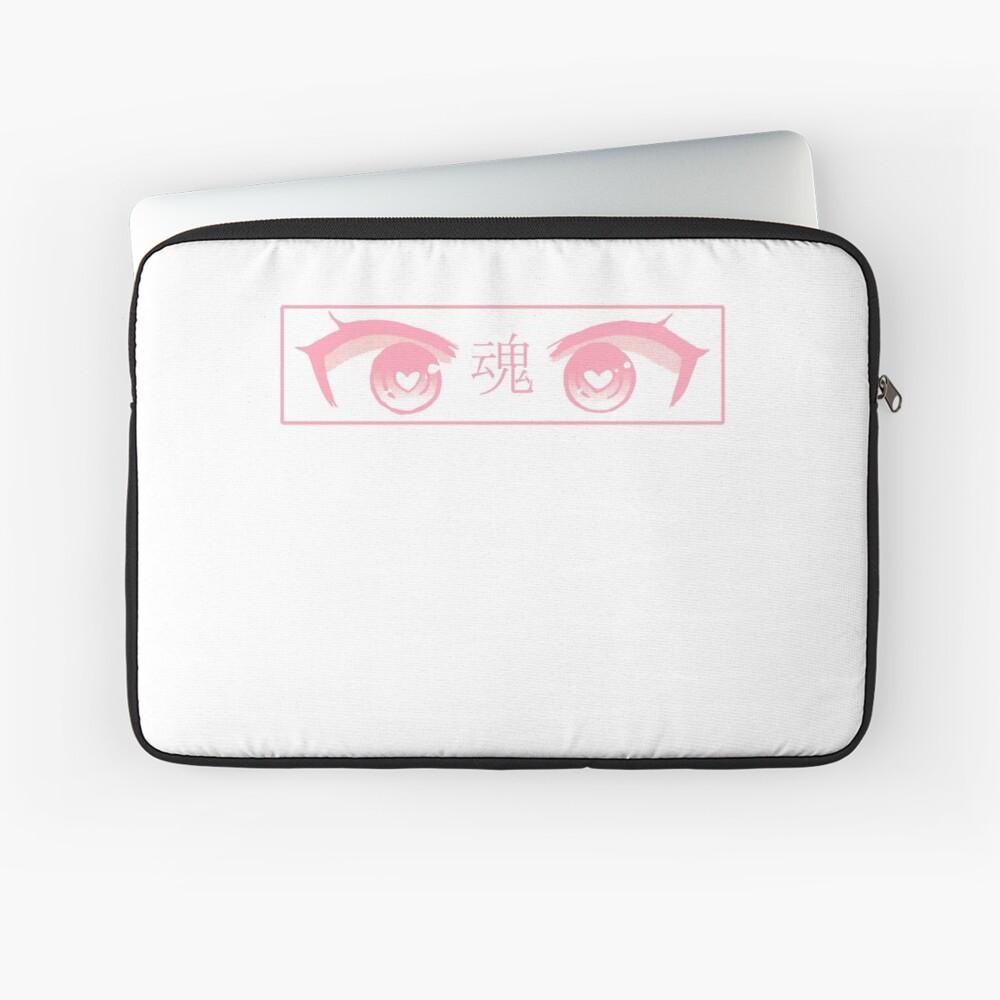 HERZ-AUGEN (ROSA PASTELL) - trauriges japanisches ästhetisches Laptoptasche